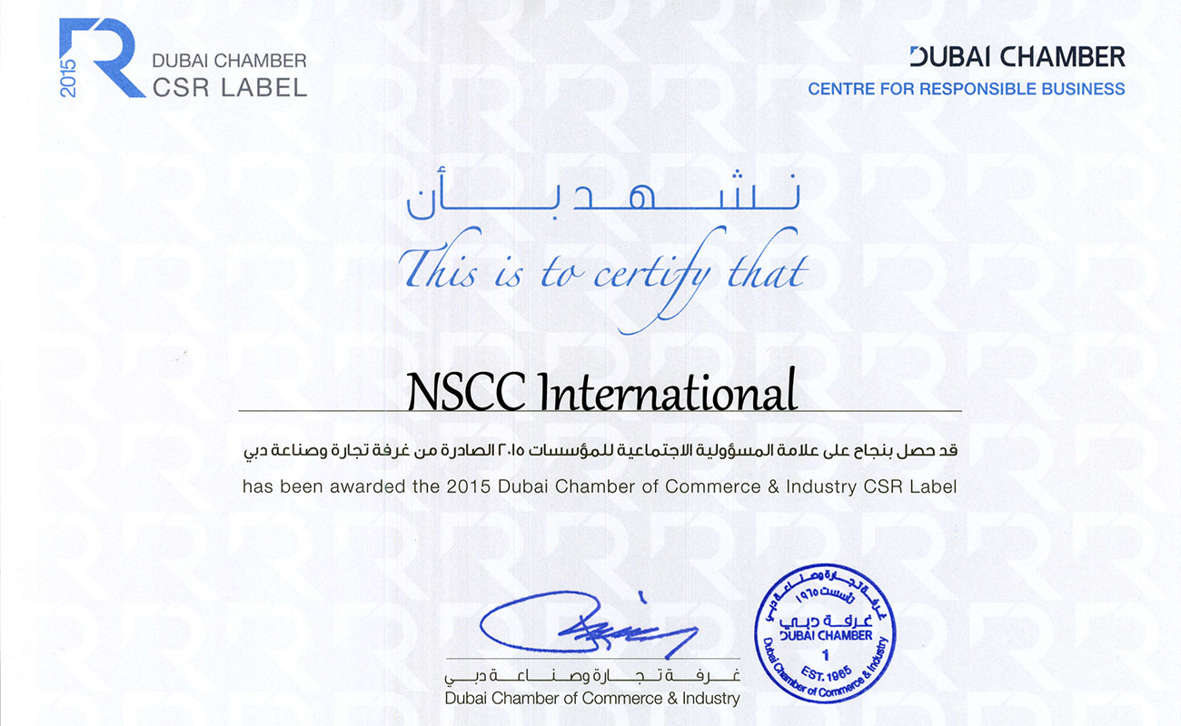 NSCC International Awarded Dubai Chamber CSR Label