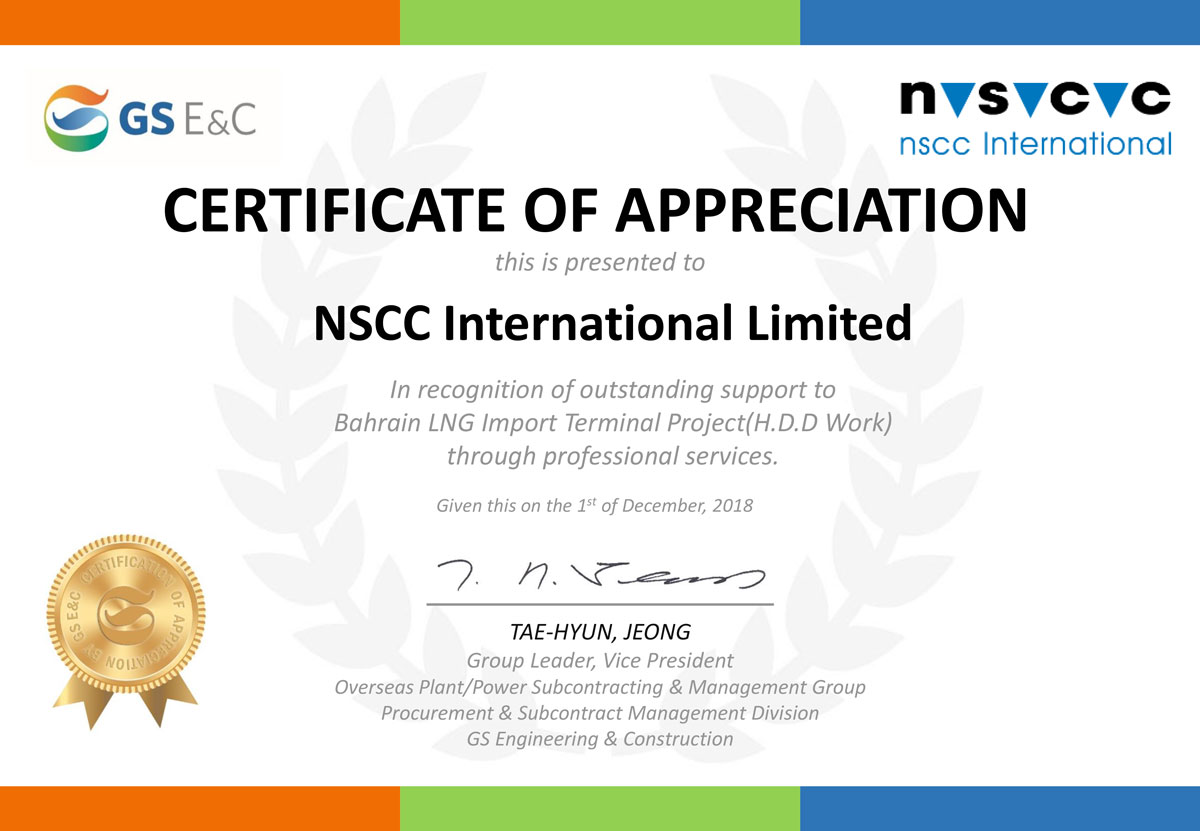 Certificate of Appreciation for HDD Works in Bahrain