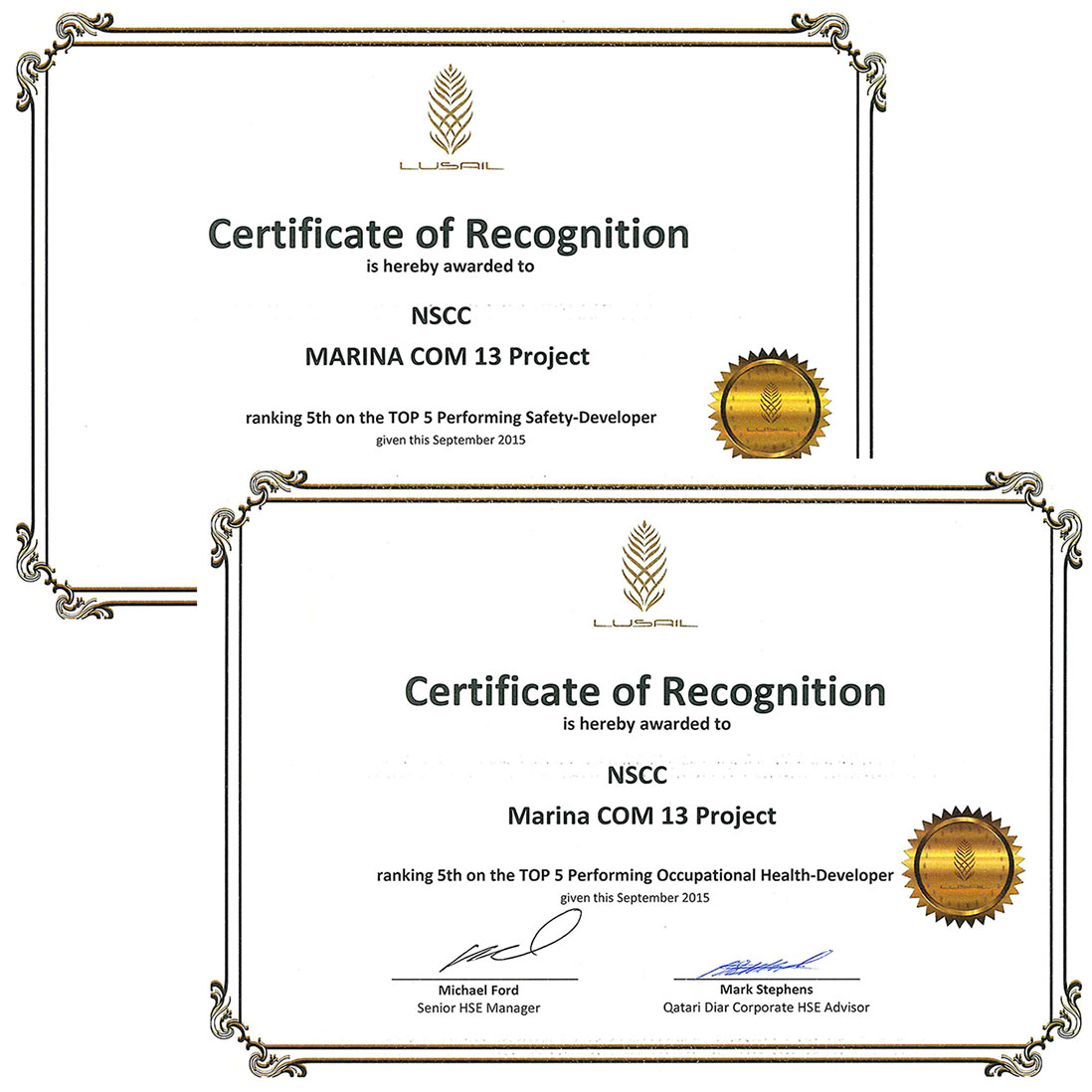 NSCC International Doha Awarded Top 5 Ranking for Health & Safety